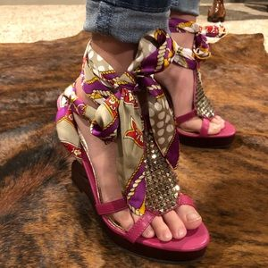 Shoes - BUMPER (6.5) RIBBON TIE UP ZIGZAG WEDGES FUCHSIA